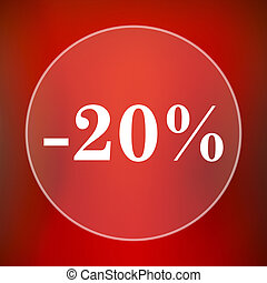 20 percent discount icon Internet button on red background...