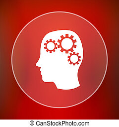 Brain icon Internet button on red background