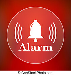 Alarm icon Internet button on red background
