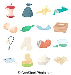 Garbage set icons in isometric 3d style isolated on white...