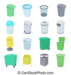 Trash bin set icons in isometric 3d style isolated on white...