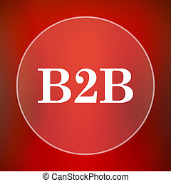 B2B icon Internet button on red background