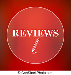Reviews icon Internet button on red background