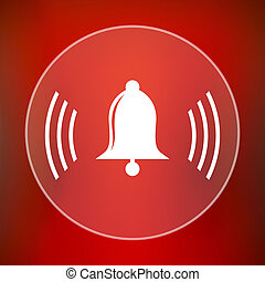 Bell icon Internet button on red background