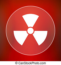 Radiation icon Internet button on red background