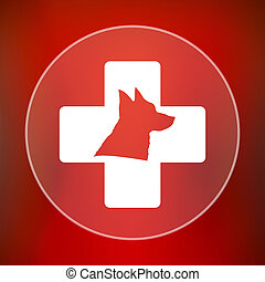 Veterinary icon Internet button on red background