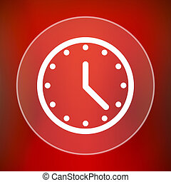 Clock icon Internet button on red background
