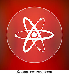 Atoms icon Internet button on red background