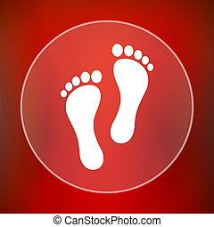 Foot print icon. Internet button on red background.