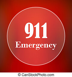 911 Emergency icon. Internet button on red background.