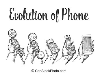 Evolution of communication devices from classic phone to modern mobile phone. Hand man. Hand drawn design element. Vintage vector engraving illustration for info graphic, poster, web.