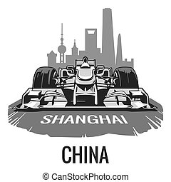 Vintage poster Grand Prix China. Vector illustration for poster, logotype, web with old paper texture background
