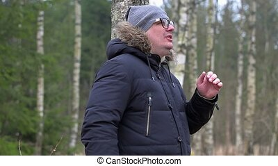 Man yelling in forest