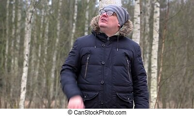 Man yelling in woods