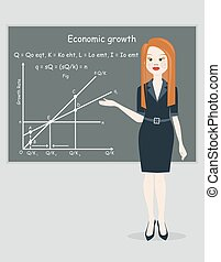 business woman presentation economic growth