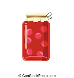 Canned fruit compote or jam icon, cartoon style - Canned...