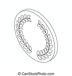 Medal with laurel wreath icon, isometric 3d style