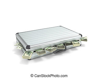 3d illustration of an open metal case with pull-down money...
