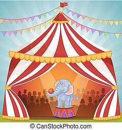 Illustration of elephant in Circus playing with ball