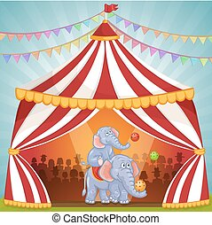 Illustration of elephants in Circus playing with ball