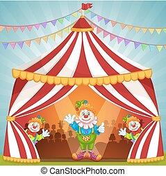 Cartoon clowns in circus tent