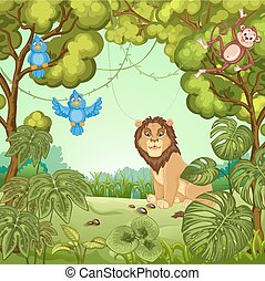 Illustration of a lion at the jungl