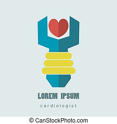 Flat logo cardiologist. Medical and health care. Easy to use and edit. Vector illustration