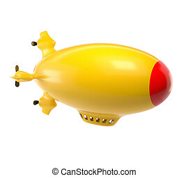 Yellow airship on a white background. 3D render