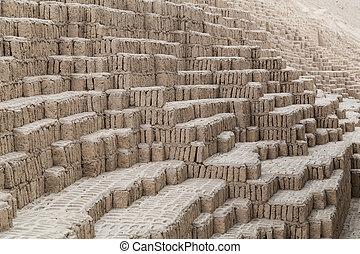 Huaca Pucllana, Juliana or Wak'a Pukllana -  great adobe and clay pyramid in Miraflores, Lima,  Peru