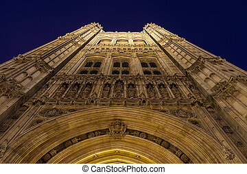 Tower of Palace of Westminster, London by  night
