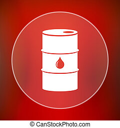 Oil barrel icon Internet button on red background