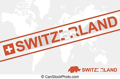Switzerland map flag and text illustration