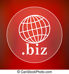biz icon Internet button on red background