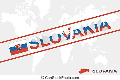 Slovakia map flag and text illustration, on world map