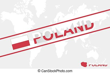 Poland map flag and text illustration