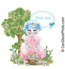 Portrait of the  funny cat dressed in  the pink frock with basket full of flowers. Summer meadow. Birthday card. Holiday congratulation. Greeting card.