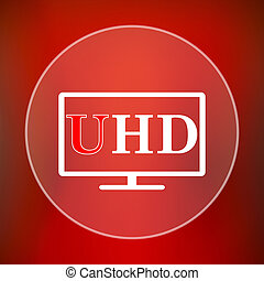 Ultra HD icon Internet button on red background
