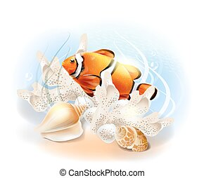 Clownfish in the sea Illustration of the tropical underwater...