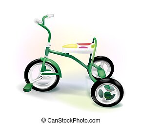 colorful three-wheeled kid's bike