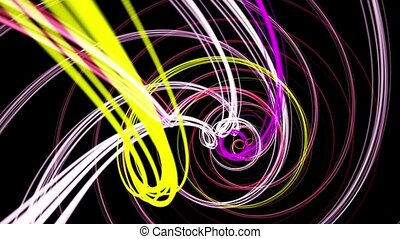 Rotating strings in spiral in various colors on black