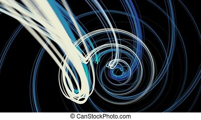 Rotating strings in spiral in blue color on black