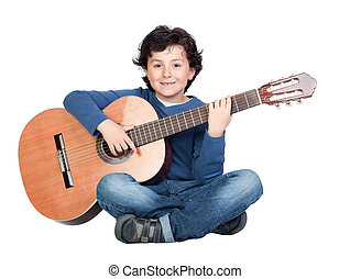 Music student playing the guitar isolated on a over white...