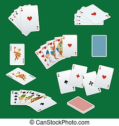 A royal straight flush playing cards poker hand in hearts. Poker cards set. Playing cards set.