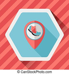 check into place when running flat icon with long shadow,...