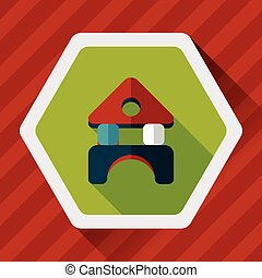 brick house flat icon with long shadow