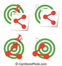 Four targets and thumbtack and share icon
