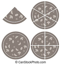 Pizza Icon Isolated on White Background Silhouette of Pizza...