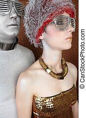 alien futuristic fashion couple portrait silver gold