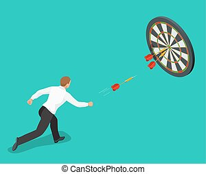 Businessman hitting the center of target. Aiming for a high...