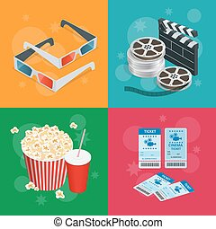 Concept cinema banners. Realistic Cinema concept with movie theatre elements. Movie poster template with film reel, drink, popcorn, 3D glasses, tickets.